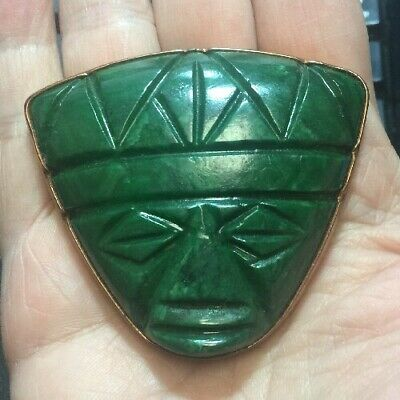 Large Carved Nephrite Jade Aztec Face Mask Pendant Not Marked