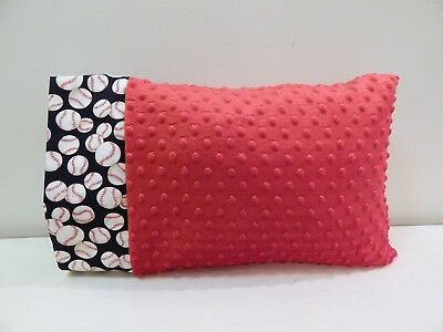 NWT Baseball Red Minky Dot Toddler Pillowcase 12 x16  Boy Travel Nap Mat Sports
