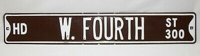 "VTG Retired West Fourth Street Brown White Embossed Metal Street Sign 36"" X 6"""