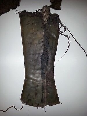 One Handmade Leather Greave, worn by COLIN FARREL in As You Like It, RSC 1996
