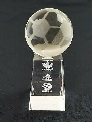 Adidas Employee Figural Soccer Display Clear Glass 5 Years Of Service trophy