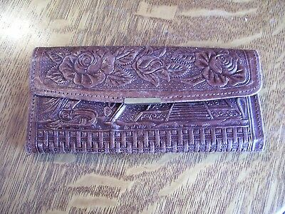 Vtg Hand Tooled LEATHER Wallet checkbook zipper Billfold MEXICO Aztec Mayan
