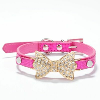Rhinestone Dog Collars Cut Girl Puppy Bling Crystal Bow Bracelet Glitter Fancy