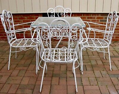 c1940s-50s Five-Piece French Wrought Iron Patio Dining Set for 4 REDUCED $629.95