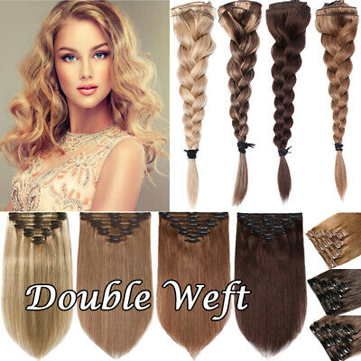 """Extra THICK Clip In Remy Human Hair Extension Full Head Double Weft 12""""-24"""" M621"""