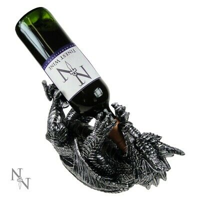 Guzzler Wine bottle table holder gothic grey dragon Mothers Fathers Day gift