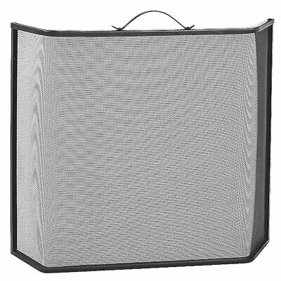 Black Deluxe Shaped Fire Guard / Fire Screen / Spark Guard