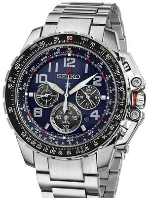 Seiko Solar SSC275 Chronograph Navy Blue Dial Stainless Steel Watch