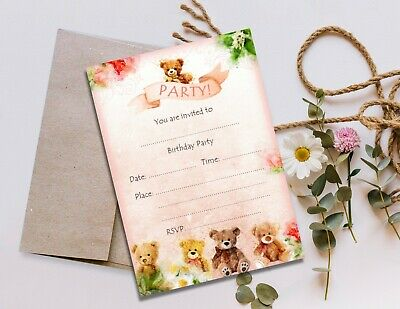 Teddy Bear Party Invitations & Envelopes - Any Occasion