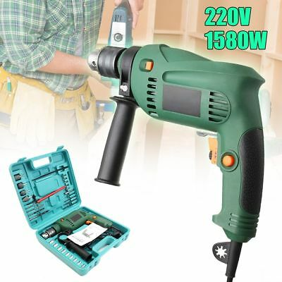Corded Drill Kit Heavy Duty Electric Power Hammer Drilling Driver Tools Hard Box