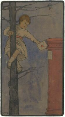 Ethel M. Mallinson, Child Posting a Valentine's Letter - Early C20th watercolour