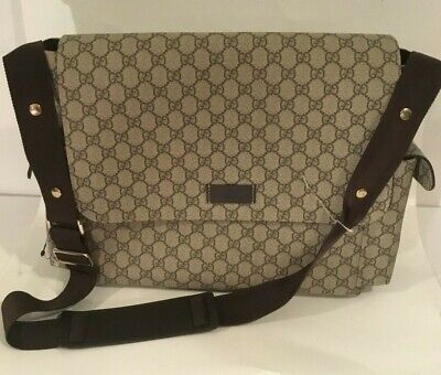 3ef3a543ed4 Authentic Gucci GG plus diaper Bag color beige ebony NEW! without ghanging  pad
