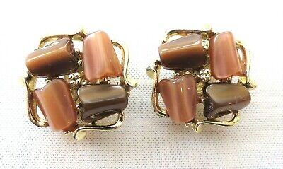 """Vintage Two Toned Brown Cocoa Thermoset Clip Earrings 1"""" Squares Gold Tone"""