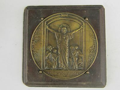 Rare French Antique Large Religious Bronze&Wood Medal / Plaque by Armand-Calliat