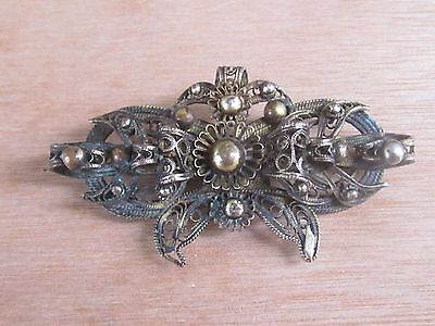 Rare Antique Ottoman Balkan Gilded Silver Filigree Brooch Hand Knitted- Mid 19Th