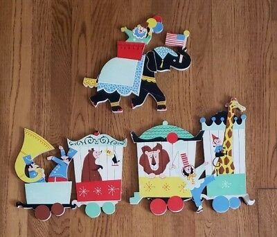 Vintage 1962 Dolly Toy Company Circus Character Nursery Pin-ups Cardboard