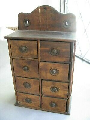 Antique wood spice cabinet rack Apothecary 8 drawer wall hanging in kitchen