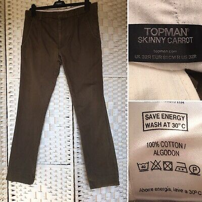 Mens Trousers 32r Topman Skinny Carrot Grey With Cuffs At Ankles Clothing, Shoes & Accessories