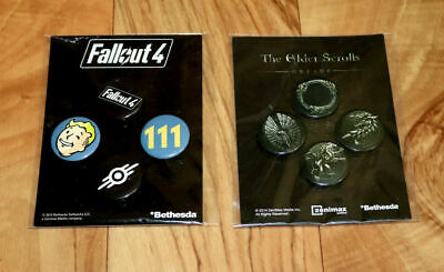 Fallout 4 & The Elder Scrolls Online Bethesda Promo Button Pin Set PS4 Xbox One