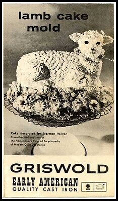 Griswold Easter Lamb Cake Cast Iron Mold 866 Owner's Manual - Reproduction Copy