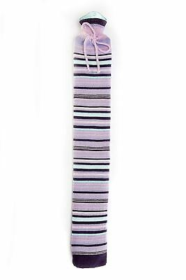 Intelex Extra Long Hot Water Bottle - Purple Stripe Knitted Cover