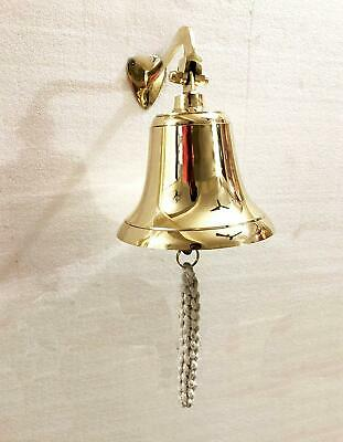 """Antique 6"""" Solid Brass Ship Bell Ring Home Kitchen Door Bell Wall Hanging Decor"""