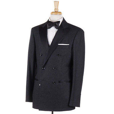4f903983d507b5 NWT $5145 BRUNELLO CUCINELLI Charcoal Flannel Wool-Cashmere Tuxedo 40 R Suit