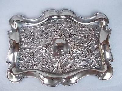 231 / Antique Mid 19Th Century Pressed Sheet Brass Tray With Embossed Design