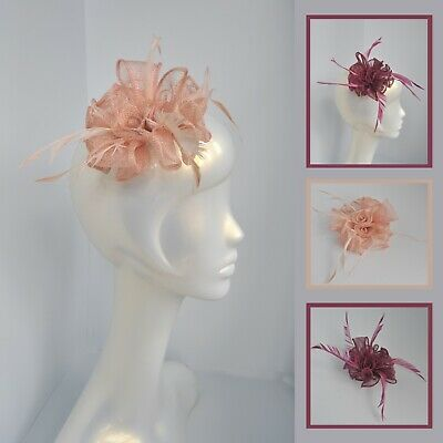 Nude/pale salmon pink/raspberry pink/purple sinamay feather fascinator hair clip
