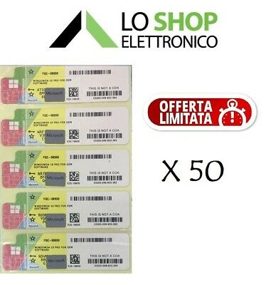 50 x LICENZA WINDOWS 10 PRO PROFESSIONAL 32/64BIT LABEL STICKER COA PRODUCT KEY