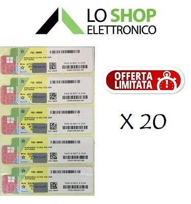 20 x LICENZA WINDOWS 10 PRO PROFESSIONAL 32/64BIT LABEL STICKER COA PRODUCT KEY