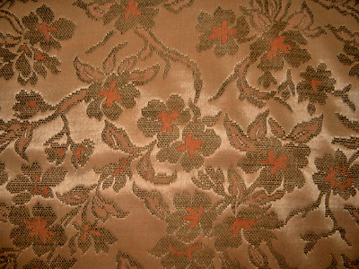 Vintage retro upholstery tapestry brocade fabric coral floral hard to find NOS