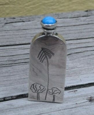 Vtg Sterling Silver 925 Mexico Perfume Bottle Rectangular Shape Tree Etching