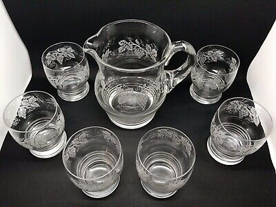 Super Set Of 6 Vintage Glass Tumblers And Matching Jug
