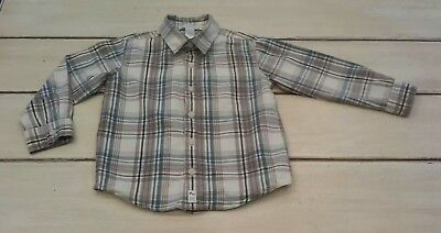 Toddler Boys Janie and Jack Long Sleeve Plaid Button Up Shirt- Blue & Beige 4T