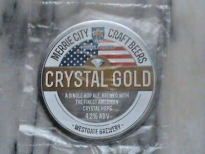 Clark's Merrie City Crystal Gold real ale beer pump clip sign