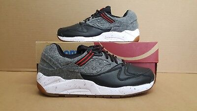 SAUCONY GRID 9000 Letterman S Black Grey White Red Leather