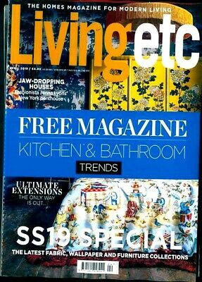Living Etc Magazine April 2019 With Free Kitchen & Bathroom Trends Mag ~ New ~