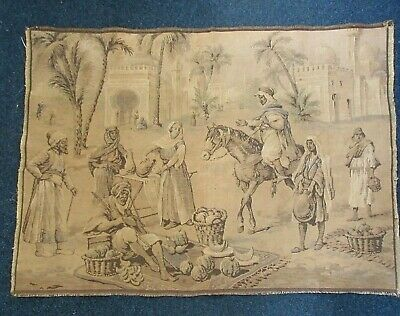 "Antique TAPESTRY Middle Eastern MARKET 33 1/2"" x 24"""