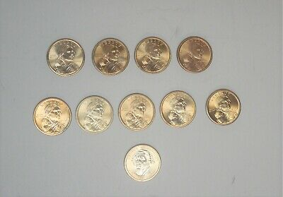 Lot of 9 Sacagawea Liberty $1 Gold Color Coins (4)2000-D (5)2000-P + 1 Geo W $1