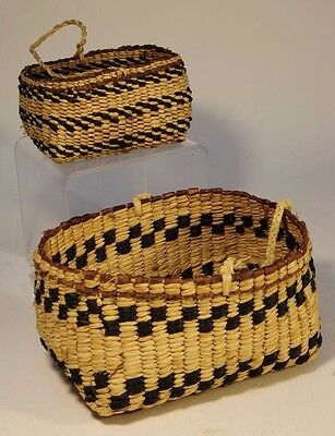 Pair of Antique Salish Rectangular Basket with Handles - Early 20th century