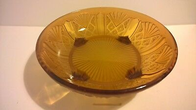 Vintage classic 1930s Art Deco frosted amber yellow pressed glass fruit bowl 25c