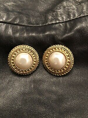 Chanel  Vintage Earrings Round Gold Tone Faux Pearl Clip On 1970's