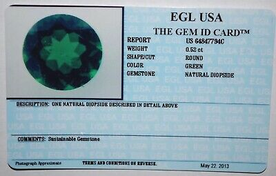 Egl Usa Tested & Certified Round Green 0.52 Ct Natural Diopside
