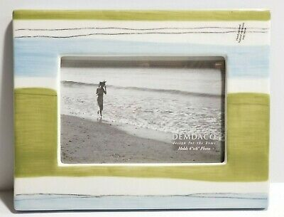Beachy Farmhouse Shabby Hand-Painted Ceramic Picture Frame Blue/Green Striped