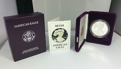 1986-S Silver American Eagle Proof OGP 1 oz .999 Bullion $1 Coin COA US Mint