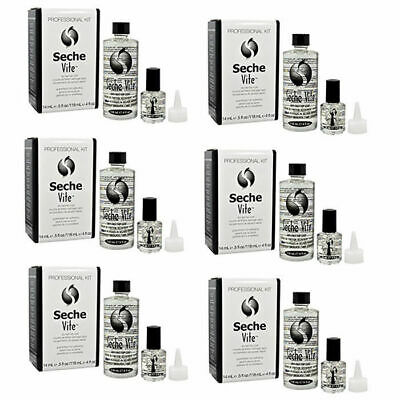 Seche Vite Dry Fast Top Coat Professional Refill Kit 4 oz and 0.5 oz (6 Packs)