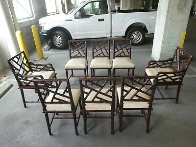 Eight Mid Century Chinese Chippendale Exotic Wood  Faux Bamboo Dining Chairs