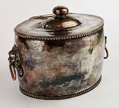 VICTORIAN SILVER PLATED LION HEAD TEA CADDY 19th Century