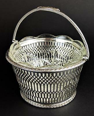 VICTORIAN JAMES DIXON & SONS SILVER PLATED SWING HANDLED BASKET c1890